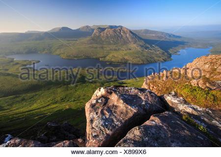 Loch Lurgainn, view from Stac Pollaidh, United Kingdom, Scotland - Stock Photo