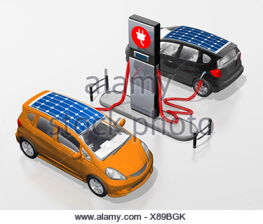 Electric cars with solar roofs at a power station, illustration - Stock Photo
