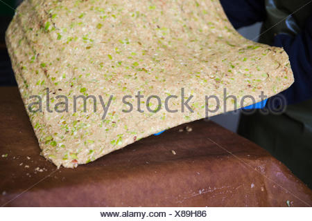Compressed apples, a solid mass of apples, skins and cores, with all the juice extracted. - Stock Photo