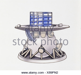 Venera 9 space craft used for exploring Venus in 1975, glass panels at top, large saucer-like skirt and bottom. - Stock Photo
