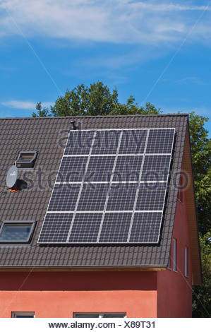 Solar panels on the roof of a residential house, PublicGround - Stock Photo
