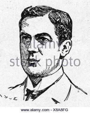 Egerton, Frederick, 1868 - 2.11.1899, British naval officer, killed in action at Ladysmith, South Africa, portrait, drawing, 'Die Woche', Berlin, 2.12.1899, - Stock Photo