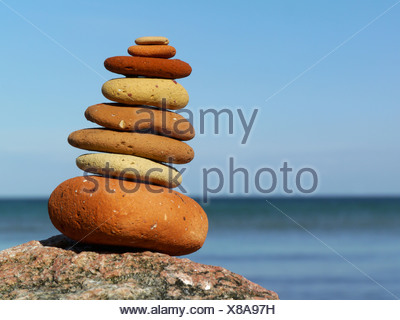 pile of stones at the beach, denmark - Stock Photo