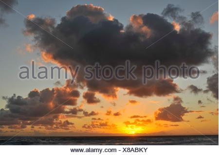 Clouded sky above the Atlantic Ocean, Fuerteventura, Canary Islands, Spain, Europe - Stock Photo