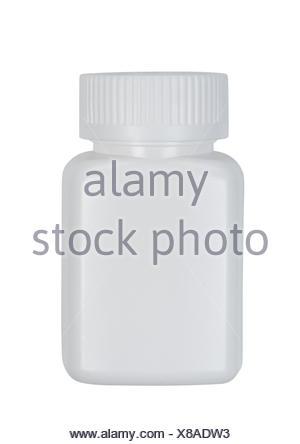 Plastic jar on white background. - Stock Photo