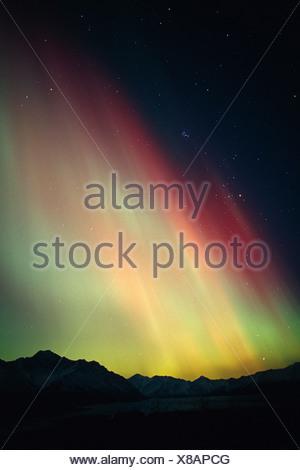 Northern Lights Over Matanuska Glacier SC AK Winter Chugach Mtns - Stock Photo