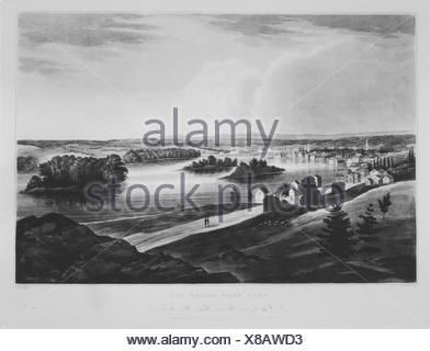 Troy from Mount Ida (No. 11 of The Hudson River Portfolio). Series/Portfolio: The Hudson River Portfolio; Etcher: Begun by John Rubens Smith - Stock Photo