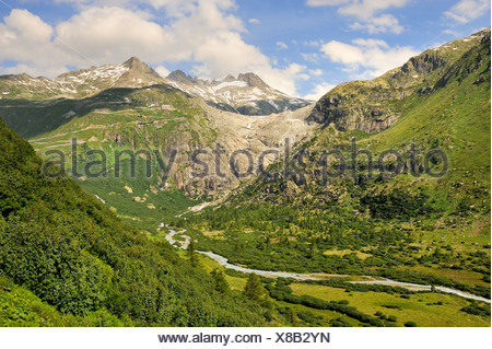 View of the Rhonegletscher glacier pulled back in the summer of 2009, in the back the Urner Alps, to the right Mt. Galenstock,  - Stock Photo