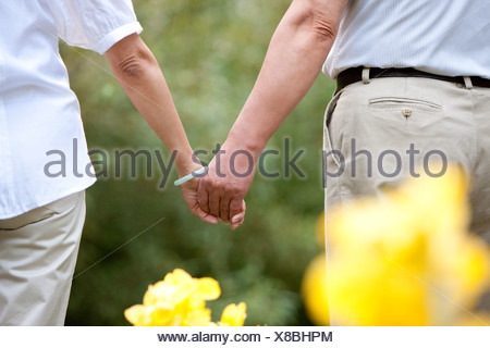 Senior couple hand in hand - Stock Photo