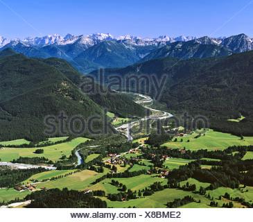 Aerial picture, Isarwinkel near Lenggries, Isartal Valley, Isar River, Karwendel Range, Toelzer Land, Upper Bavaria - Stock Photo