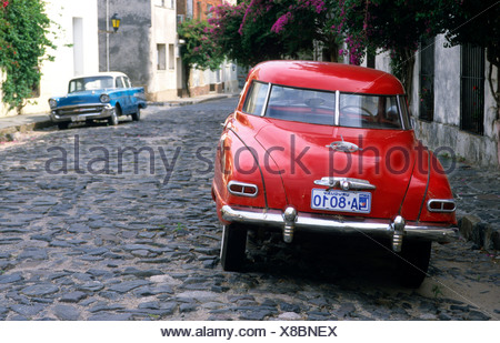 Vintage car on a cobbled stone road in Colonia del Sacramento, Uruguay, South America - Stock Photo