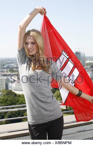 Garrn, Toni, * 7.7.1992, German photo model, half length, photo call to the launch of Otto catalogue autumn/winter 2010, Hamburg, Germany, 28.6.2010, Additional-Rights-Clearances-NA - Stock Photo