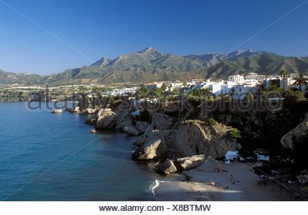 Playa de Calahonda, beach in Nerja, Costa del Sol, Málaga Province, Andalusia, Spain - Stock Photo