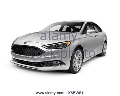 Ford Fusion mid-size silver sedan, car, 2017 - Stock Photo
