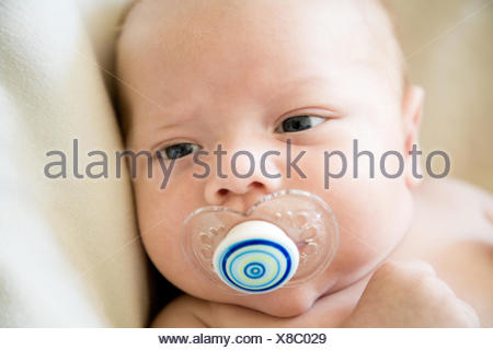 Portrait of a baby boy with a dummy - Stock Photo