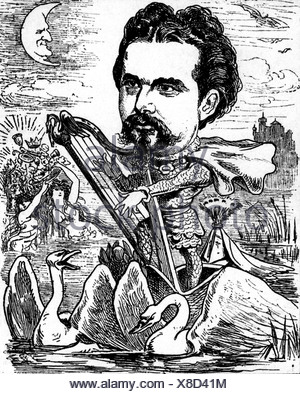 Ludwig II, 25.8.1845 - 13.6.1886, King of Bavaria 10.3.1864 - 13.6.1886, half length, caricature, as 'King Lohengrin', from 'Der Floh', Vienna, Austria, 1885, Additional-Rights-Clearances-NA - Stock Photo