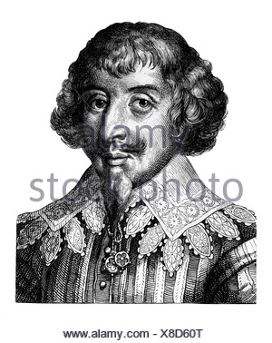 Opitz von Boberfeld, Martin, 23.1.1597 - 20. 8.1639, German author/writer, portrait, steel engraving, 19th century, , Artist's Copyright has not to be cleared - Stock Photo
