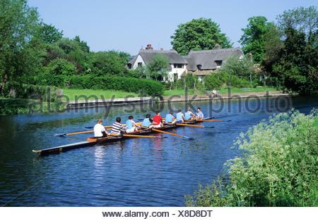 Rowing eight River Cam Fen Ditton Cambridge - Stock Photo