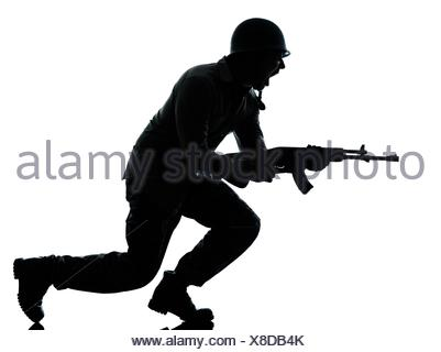 one caucasian army soldier man attacking on studio isolated on white background Stock Photo