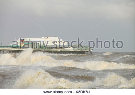 Blackpool being battered by a storm that swept across England on 18th Jan 2007 killing 13 people in hurricane force winds - Stock Photo