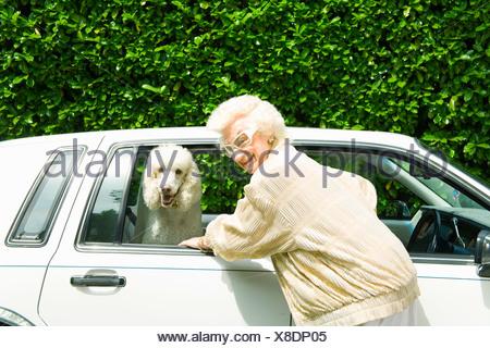 Senior woman next to dog in car - Stock Photo