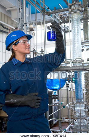 Trainee chemical technician at Evonik company, Marl, Germany - Stock Photo