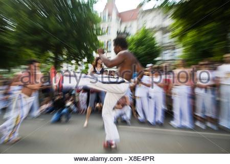 Dancing open-chested man at the Karneval der Kulturen Carnival of Cultures, Kreuzberg district, Berlin, Germany, Europe - Stock Photo