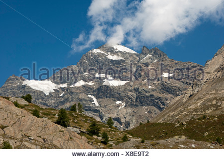 Alpine landscape with Mt Lauterbrunner Breithorn, southern view from Loetschental Valley, Valais, Switzerland, Europe - Stock Photo