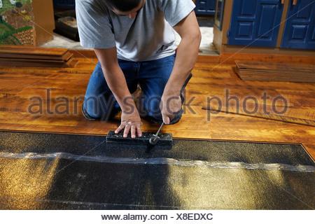 laying new laminate floor flooring worker workers man men indoor indoors houses apartment - Stock Photo