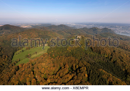Aerial view, Rhein-Sieg-Kreis district, Siebengebirge mountains, Koenigswinter, North Rhine-Westphalia, Germany, Europe - Stock Photo