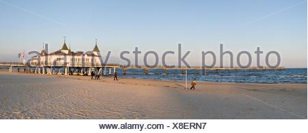 Historic pier, Ahlbeck seaside resort, Usedom Island, Mecklenburg-Western Pomerania - Stock Photo