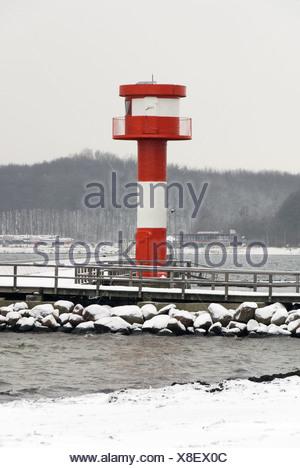 Lighthouse Eckernfoerde in Winter - Stock Photo