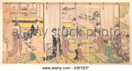 和歌三神図/Honoring the Three Gods of Poetry: Women Composing Poems. Artist: Chobunsai Eishi (Japanese, 1756-1829); Period: Edo period - Stock Photo