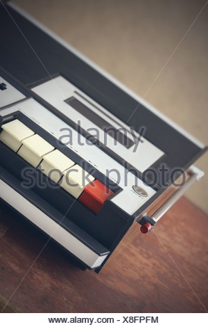 old monophonic cassette recorder from the early 1970s - Stock Photo