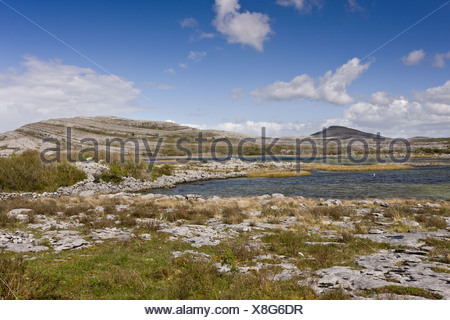 View of carboniferous limestone landscape around lough Lough Geallain Mullagh More Burren N.P. The Burren County Clare Ireland - Stock Photo