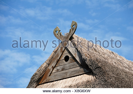 Niedersachsenpferde, gabel cross with symbolic horse heads, and a hole for owls on the gable of a farmhouse against a cloudy sky - Stock Photo