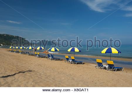 Agios Gordios beach in Corfu, Ionian Islands, Greece, Europe - Stock Photo