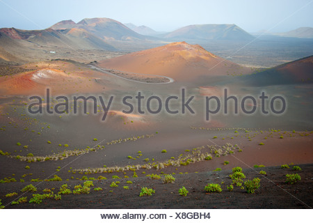 Timanfaya Volcanoe National Park in Lanzarote, Canary Islands, Spain, Europe - Stock Photo