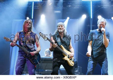 Ian Gillan, Roger Glover, Steve Morse, Deep Purple, English rock band, Open Air Festival, Muehldorf am Inn, Bavaria, Germany - Stock Photo
