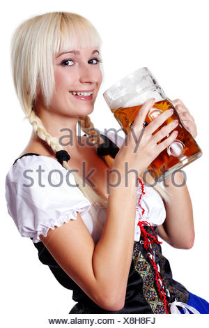 Young Woman with Pinf of Beer - Stock Photo