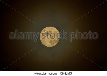 full moon with halo, Germany, Bavaria - Stock Photo