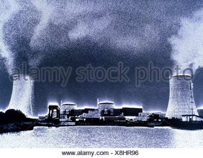 Smoke emitting from smokestacks - Stock Photo