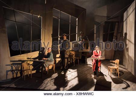 Serapions-Ensemble im Odeon, Rauschen der Flügel, Premiere 2.2.2017 (EDITORIAL ONLY) - Stock Photo