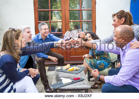 Six mature adults friends making wine toast at garden party on patio - Stock Photo