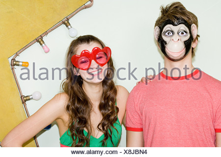 Teenagers wearing costumes - Stock Photo