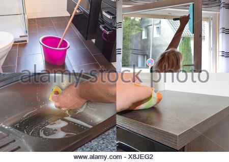 Image is divided into 4 sections about housework - Stock Photo