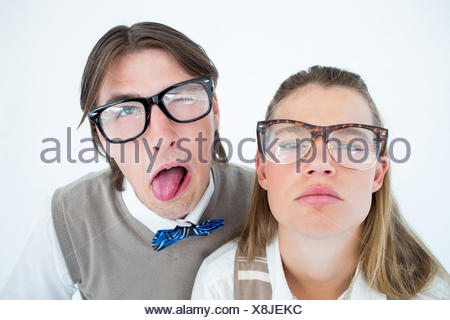 Funny geeky hipsters grimacing - Stock Photo