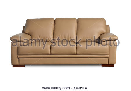 light brown leather sofa on white background - Stock Photo