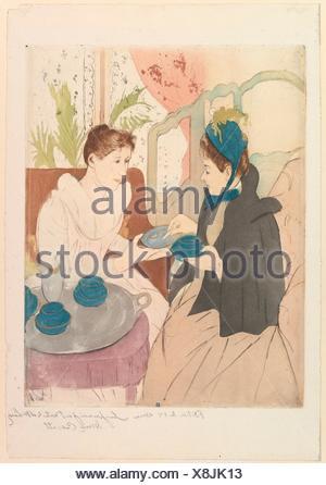 Afternoon Tea Party. Artist: Mary Cassatt (American, Pittsburgh, Pennsylvania 1844-1926 Le Mesnil-Théribus, Oise); Date: 1890-91; Medium: Drypoint - Stock Photo