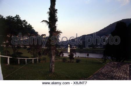 View; lake; Quitandinha Palace; Petropolis; Rio de Janeiro; Brazil - Stock Photo